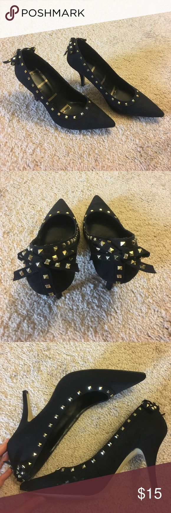 Women's Elle Black with Gold Studs Heels Excellent condition. Worn a few times. One scuff as shown in pictures, other wise perfect condition. Black suede with gold studs. Bow accent on back of shoe. 3 inch heel. Elle Shoes Heels