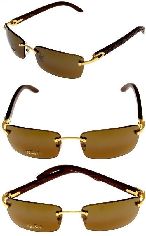 cartier sunglasses c decor rimless unisex wood t8200728, it is no