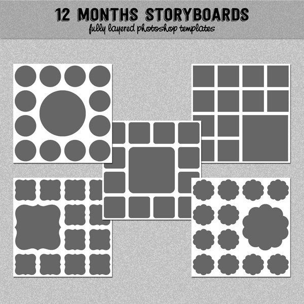 12 Months Photo Storyboard Templates Instant Download Etsy Photoshop Collage Template Storyboard Template Photoshop Templates Free