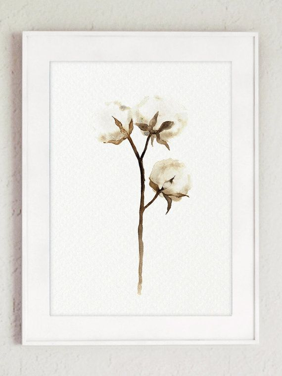 Cotton Painting Shabby Chic Decor White Brown Minimalist