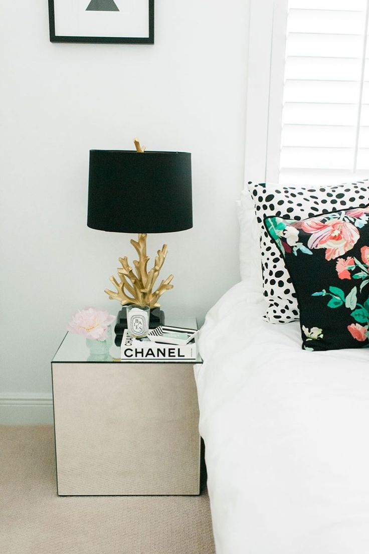 Black and white bedrooms with color accents - Black White Gold With Eclectic Prints And Pops Of Color Bedroom Nightstand