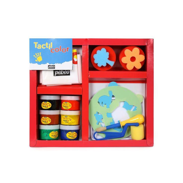 Le boîtier Tactil color comprend: un tablier, une nappe pour protéger la surface, des pochoirs, un pinceau ergonomique et 6 pots de gouaches.