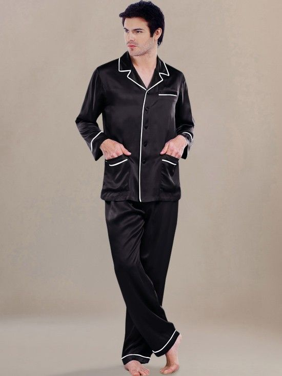 Crafted from 100% pure mulberry silk, this men silk pajama set might make you feel like the lord with its unparalleled design.  #Men'sSilkPajama #Black #men