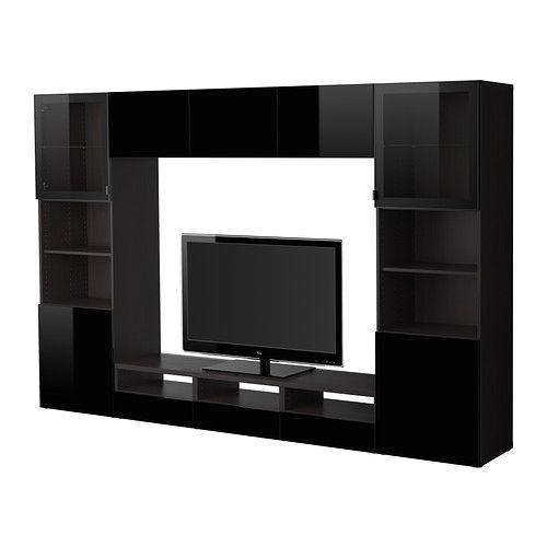 BESTÅ TV storage combination/glass doors - black-brown/Tofta high gloss/black clear glass - IKEA