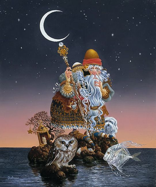 "James Christensen                                                               ""The man Who Minds The Moon"", 1988."