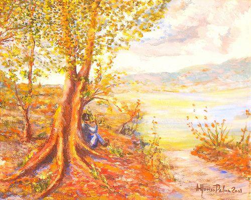 Meditazioni. Anno 2001. Dipinto dal vero. Olio su tela. Dim. cm. 40 x cm. 50