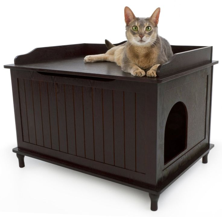 Designer catbox litter box enclosure in espresso - Modern cat litter box furniture ...