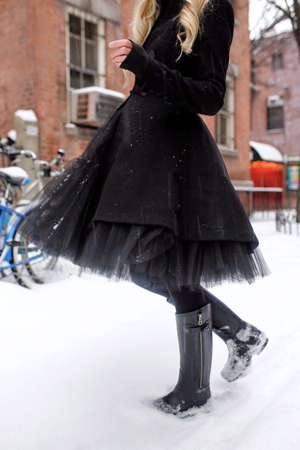 Atlantic-Pacific // Snow, tulle skirt, hunter boots