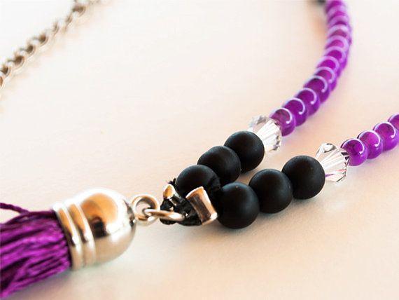 Purple tassel rosary necklace , mala necklace ,boho necklace , tassel necklace, long necklace , beaded necklace , purple black rosary