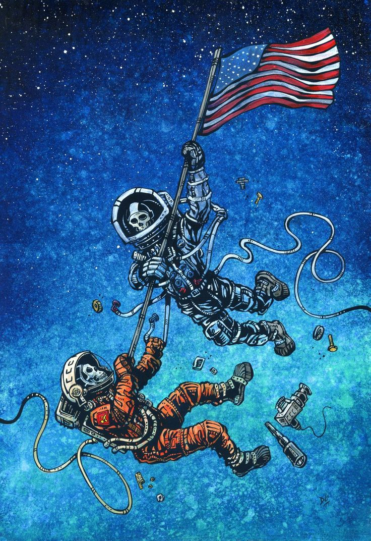 A Cold War battle ensues between a Russian cosmonaut and an American astronaut in the skies above Earth. Painting Process The 13.5 x 20 aquaboard was first painted with blue and green acrylics to crea