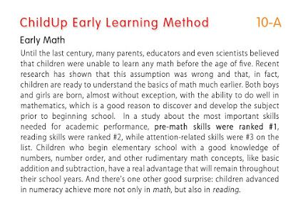 ChildUp Preschool Math Lessons - Early Math Skills Are Ranked #1 for Academic Performance: Until the last century, many parents, educators and even scientists believed that children were unable to learn any math before the age of five. #EarlyLearning #Preschool #Parenting