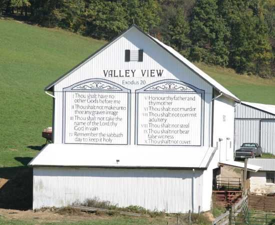 Barn with Ten Commandments