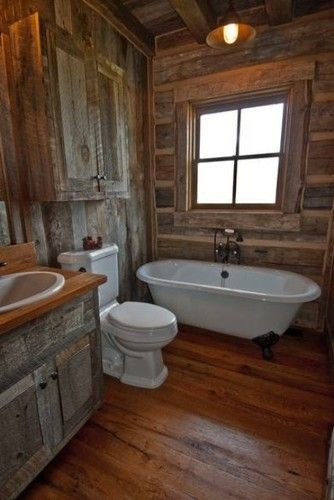 Design a stylish bathroom in your home with a rustic barn interior that creates a chic ambiance.  I love rustic barn everything!  Would it be to much to have an entire house of it?  Aha!  I should just live in a barn!