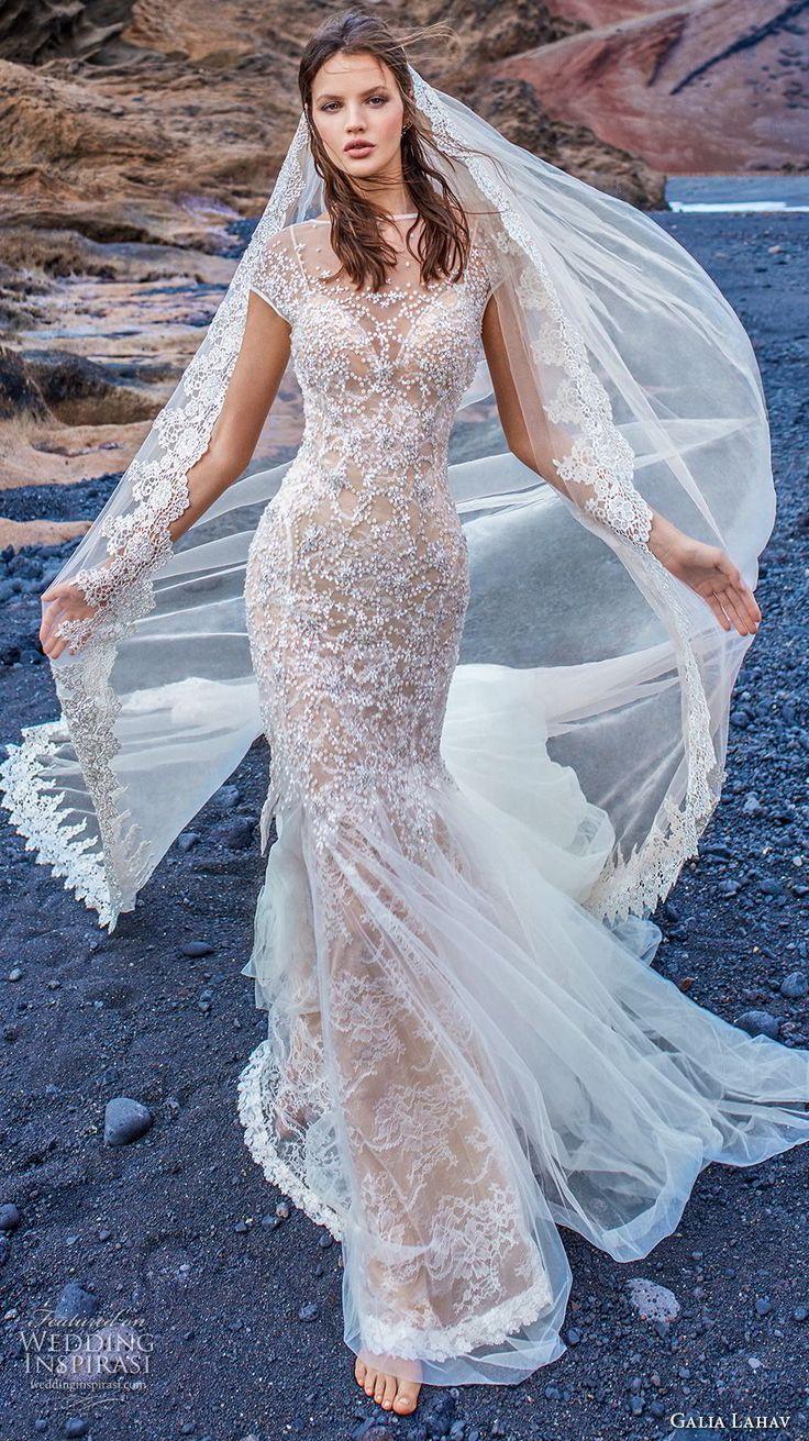 galia lahav gala 2018 bridal cap sleeves illusion bateau neck full embellishment elegant fit and flare wedding dress open back chapel train (6) mv  -- Gala by Galia Lahav Collection No. 5 Wedding Dresses