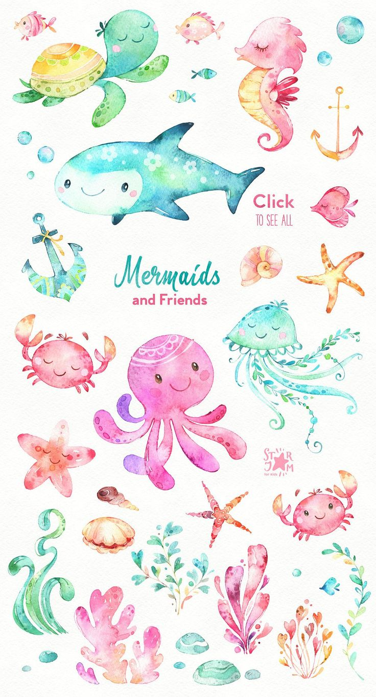 Mermaids & Friends. Underwater world by StarJam on @creativemarket