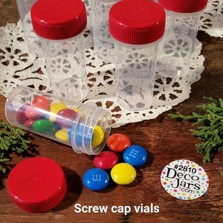 100 Mini Plastic Tube 1/4oz Vial JARS Container Powder RED CAPS 2810 Made in USA #DecoJars