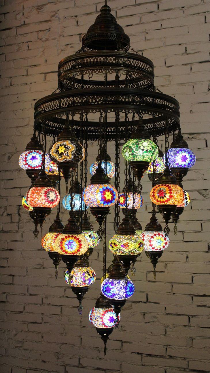 Lámpara turca de techo 24 bolas Lámpara de techo