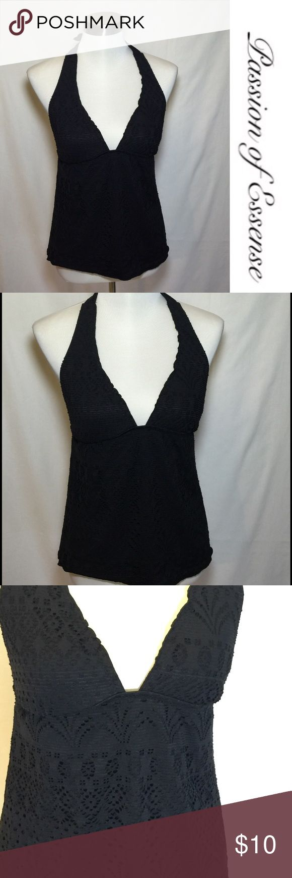 Mossimo Black Lace Swimsuit Top Black Mossimo lace swimsuit shell with a strap around the neckline 87% nylon 13% spandex, double-line 100% polyester. Mossimo Supply Co Swim One Pieces