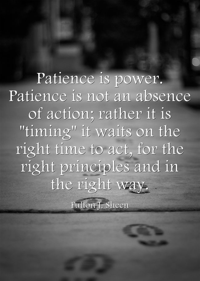 Fulton J Sheen, Patience is power Patience is not an absence of action, rather it is timing it waits on the right time to act, for the right princeples and in the right way