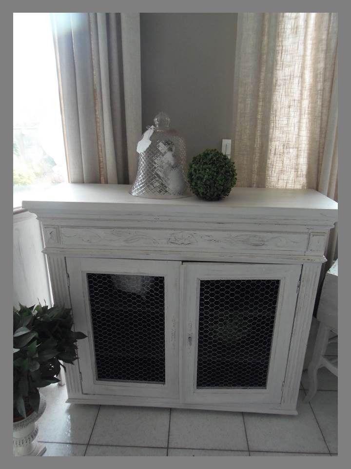 console buffet grillag patin gris perle blanc poudr plateau prot g par 3 couches de vernis. Black Bedroom Furniture Sets. Home Design Ideas