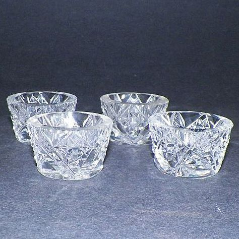 Four Antique Hawkes Clear Cut Crystal Salt Cellars from karensfinds on Ruby Lane : crystal salt cellars  - Aeropaca.Org