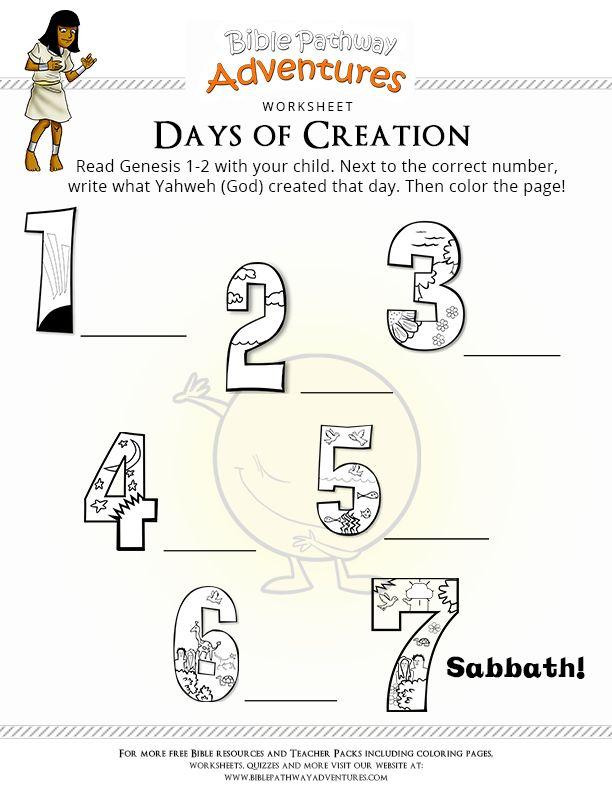 7 Days Of Creation Catholic Kindergarten Worksheets In 2020 Days