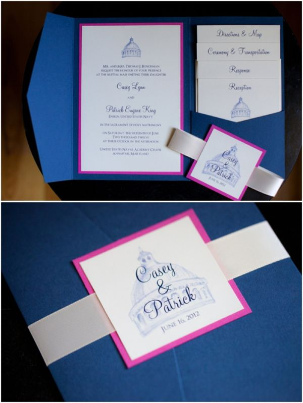 Hot Pink And Navy Blue Wedding Invitation Suite United States Naval Academy Chapel Military