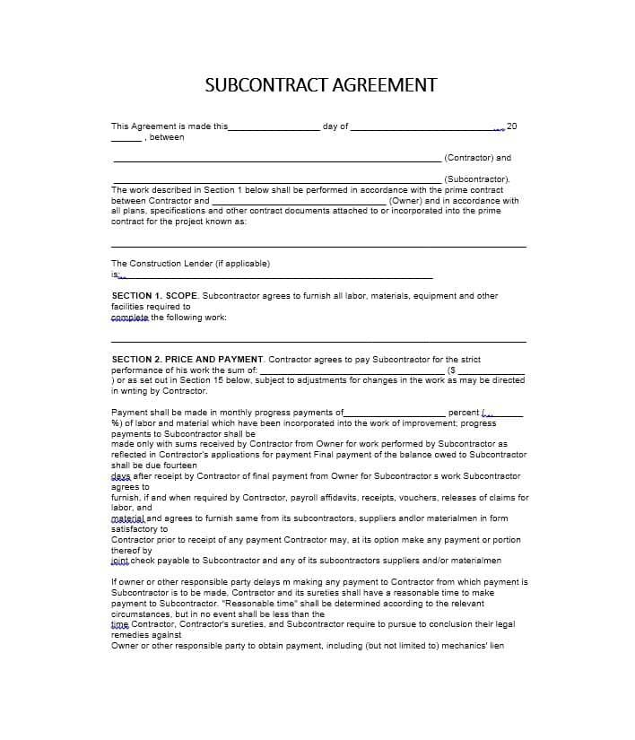 Subcontractor Agreement Template Subcontractor Agreement Template Free Subcontractor A Contract Template Contractor Contract Photography Price List Template