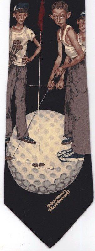 "Norman Rockwell ""JUST MISSED"" Golf 4 Boys Golfing Silk Tie Black 1995…"
