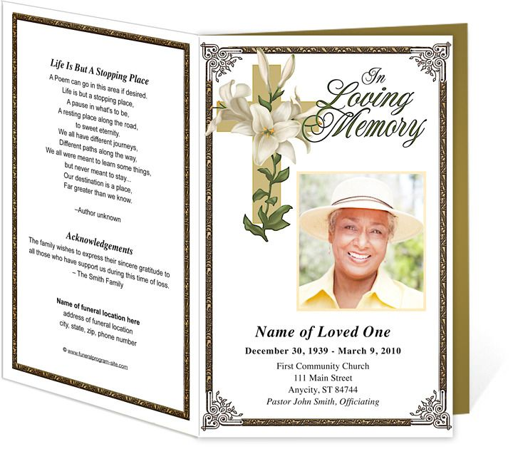 bethany faith inspired bordered funeral program template design