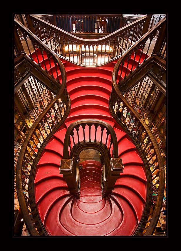 I'm 99% sure that heaven looks something like this. Lello Bookshop-Porto, Portugal