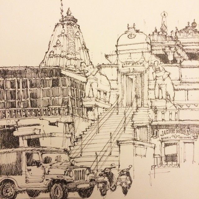 It is an image of Revered Temple Drawing Ideas