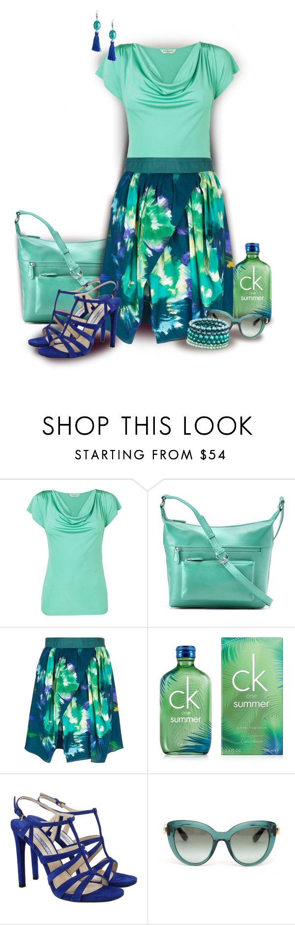"""Eggs Skirt with Turquoise Top"" by franceseattle ❤ liked on Polyvore featuring L.K.Bennett, ILI, Eggs, Calvin Klein, Prada, Dolce&Gabbana and Honora"