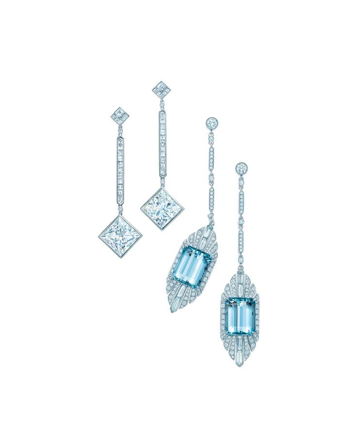 The Tiffany & Co. aquamarine and diamond drop earrings in platinum (right) worn by Jessica Biel at the 86th Academy Awards in 2014.Photo courtesy of Tiffany & Co.