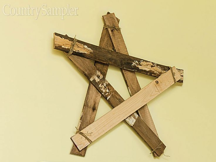 Construct a rustic oversize star for the wall by nailing together reclaimed boards and wrapping the joints with twine.