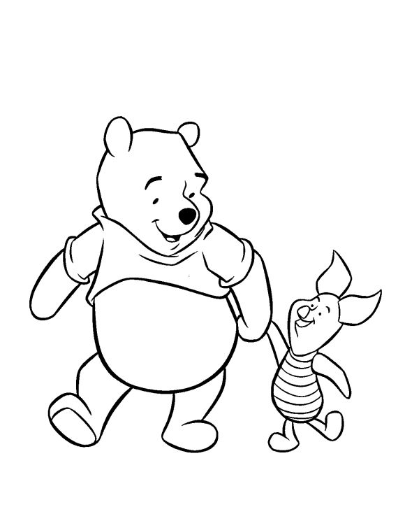 Winnie The Pooh Friendship With Piglet Pig Coloring Pages To Print