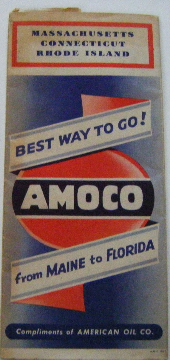 Roadmap Of The Us%0A Vintage Amoco American Oil Company Map Massachusetts by parkledge