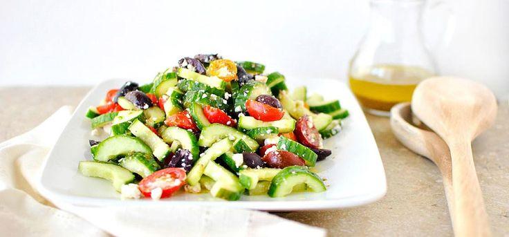 It's easy to make classic cucumber salad go Greek with organic oregano, Feta cheese, tomatoes and Kalamata olives.