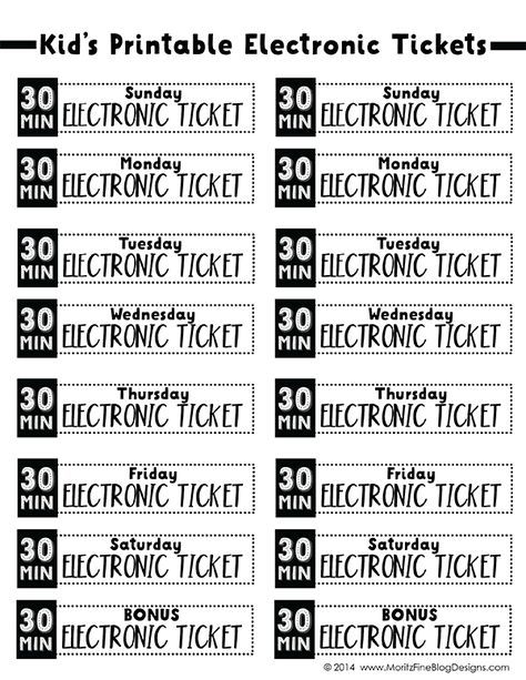 electronic_tickets_30min Also thru must earn the ticket by doing something responsible or kind or helpful (ie a chore for mom) along with all their reg chores must be done before getting a ticket