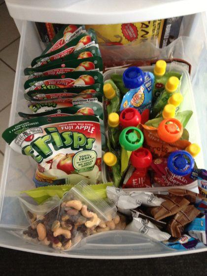 Paleo kids snack drawer ideas: Tanka Bites, squeezy apple sauces, trail mix, apple chips, larabars, fruit leather...