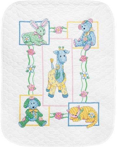 Stamped Cross Stitch Kit Baby's Friends Quilt - Dimensions Cross Stitch Baby Quilt Blanket Nursery cat giraffe bunny teddy bear Baby Blanket