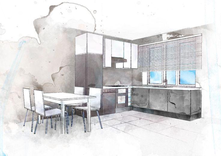 Boceto cocina acuarela croquis interiores pinterest for Interior designs drawings