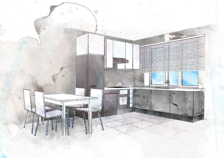 Boceto cocina acuarela croquis interiores pinterest for Interior design sketches