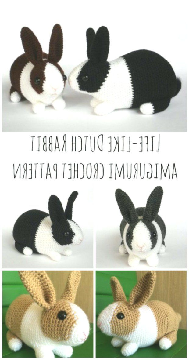 Amigurumi dutch bunny, Crochet rabbit stuffed toy white brown ... | 1179x620