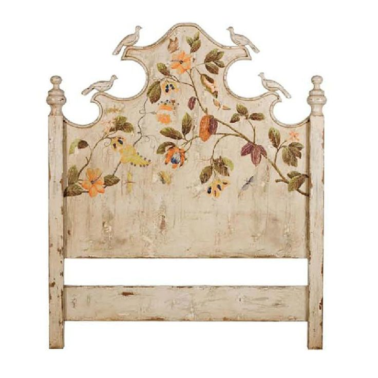 Whimsical hand-painted headboard with floral foilage artwork  Garden Cottage Painted Headboard