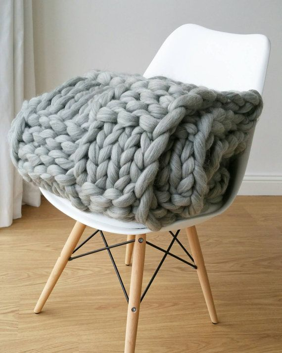 Giant Grey Chunky Arm Knit Blanket Luxury Bed runner Chunky Knit Throw Merino Wool Blanket UK seller