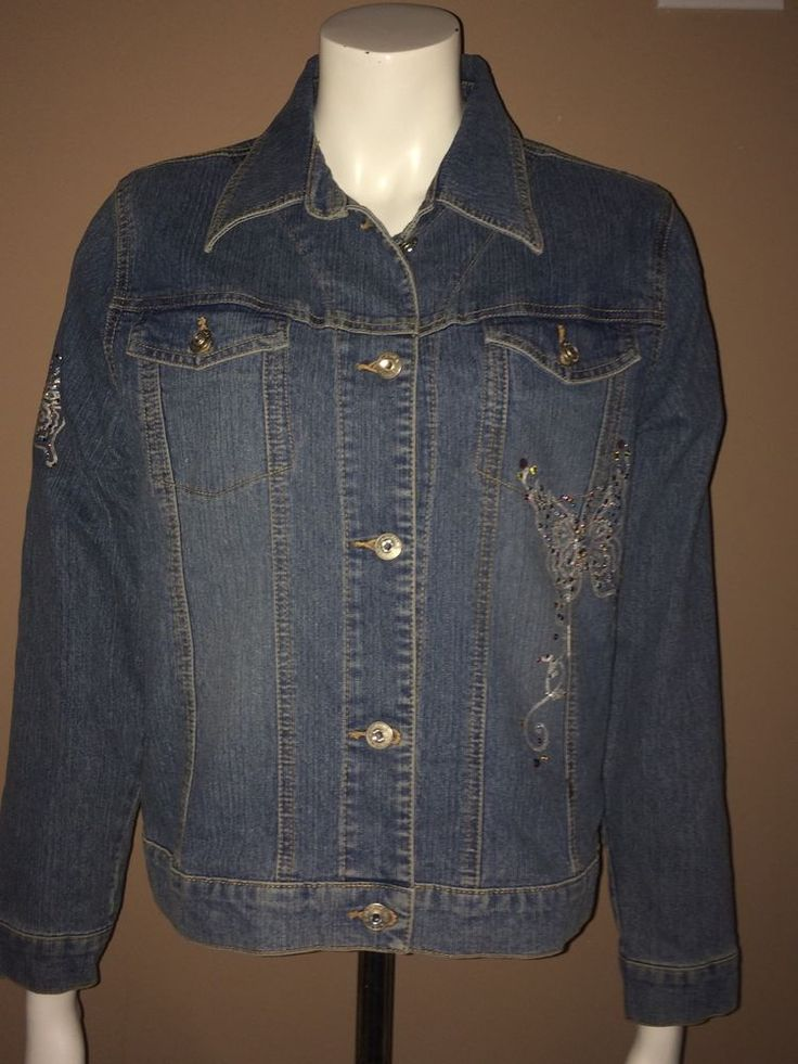 Jeans Jacket Women Size Large Unique And Rare With Butterfly Design