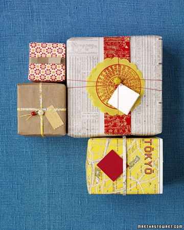 vintage and repurposed paper as gift wrap