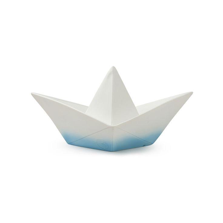 Nachtlicht 'Origami Boot' weiß/blau 32cm