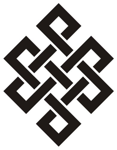Tibetan eternity knot. also called infinity knot or endless knot.